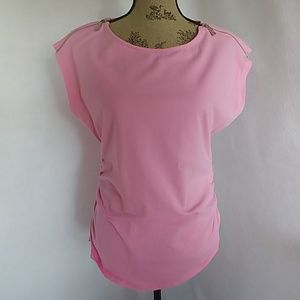 Michael Kors Women's Pink Ruched Blouse Top